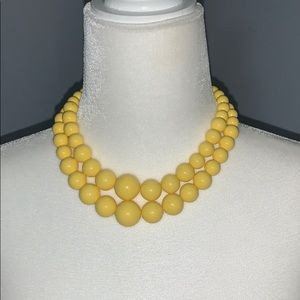Vintage yellow gumball necklace & button earrings